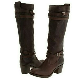 $60 SALE🎉 Frye Jane Strappy Tall Dark Brown Boots